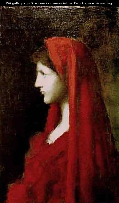 Head of a Woman with a Red Shawl - Jean-Jacques Henner