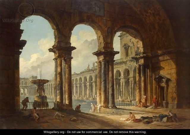 Ancient Ruins Used as Public Baths - Hubert Robert
