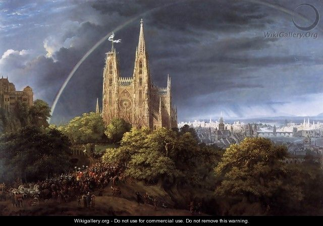 Gothic Cathedral with Imperial Palace - Karl Friedrich Schinkel