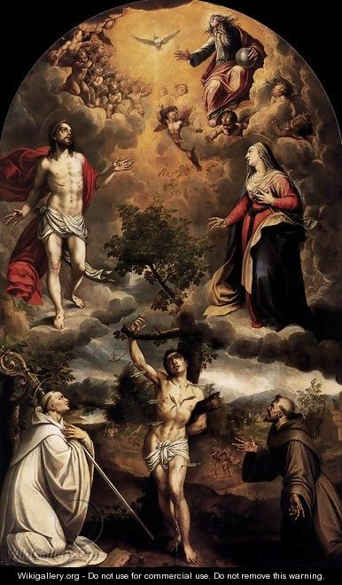 St Sebastian between St Bernard and St Francis - Alonso Sanchez Coello