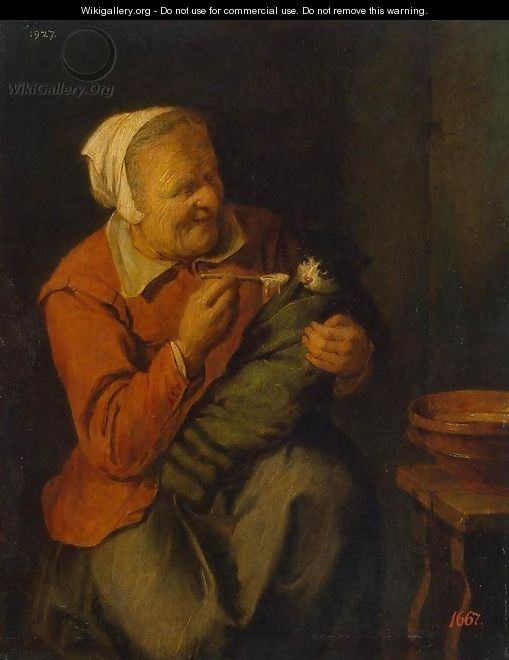 Peasant Woman with a Cat - David The Younger Ryckaert