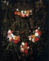 Christ and St Therese in a Garland of Flowers - Daniel Seghers