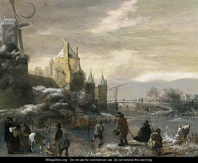 Winter Landscape with Skaters 2 - Claes Molenaar (see Molenaer)