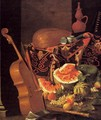 Still-Life with Musical Instruments and Fruit - Cristoforo Munari