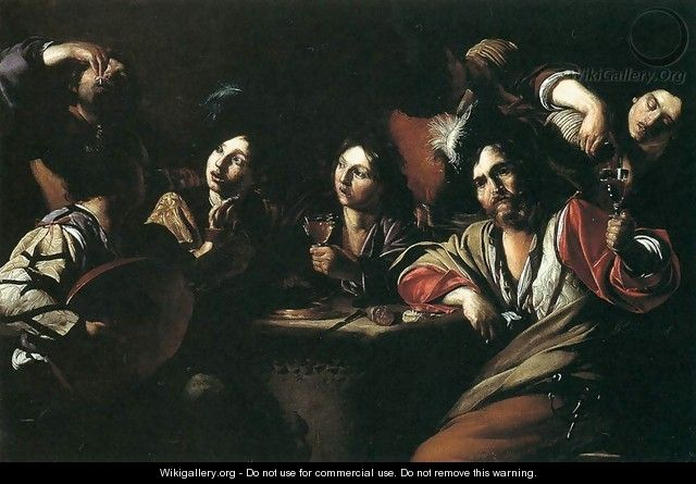Tavern Scene with a Lute Player - Bartolomeo Manfredi