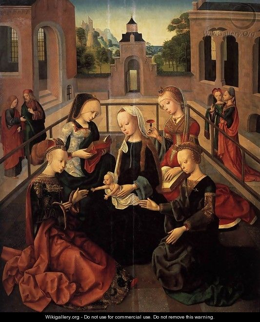 Virgin and Child with Sts Catherine, Cecilia, Barbara, and Ursula - Master of the Virgo inter Virgines