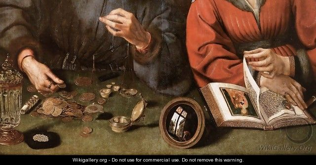 The Moneylender and his Wife (detail) - Workshop of Quentin Massys