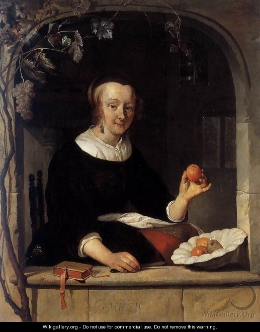 Lady Seated in a Window - Gabriel Metsu