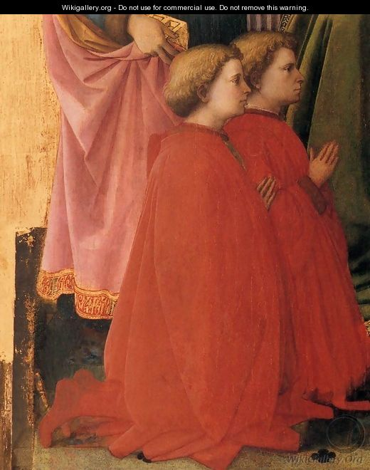 St Lawrence Enthroned with Saints and Donors (detail) - Filippino Lippi