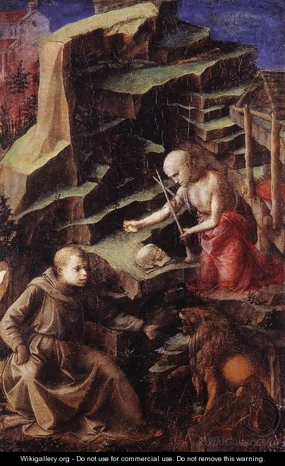 The Penitent St Jerome with a Young Monk - Filippino Lippi
