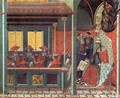 Predella panel The Pope Issues a Bull to a Carmelite Delegation - Pietro Lorenzetti