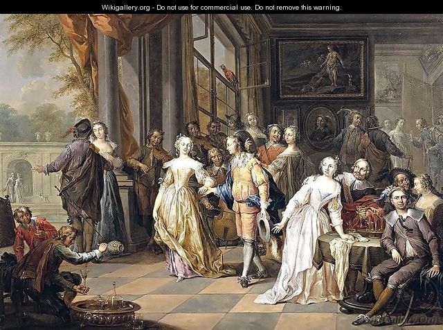 Elegant Company in an Interior 2 - Frans Christoph Janneck