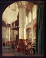 Interior of the Oude Kerk, Delft, with the Pulpit of 1548 - Gerard Houckgeest