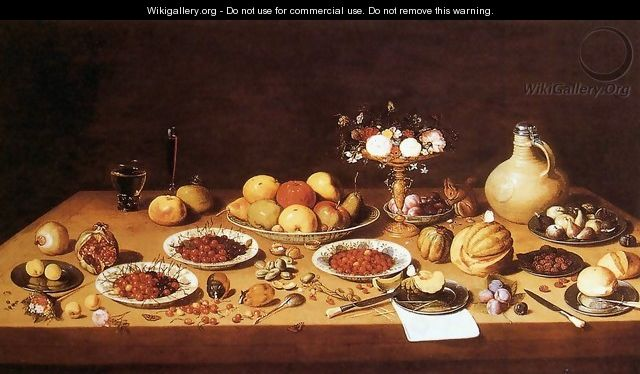 Still-Life on a Table with Fruit and Flowers - Jan van Kessel
