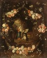 Madonna with the Child and St Ildephonsus Framed with a Garland of Flowers - Jan van Kessel