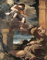 St Francis with an Angel Playing Violin - Guercino