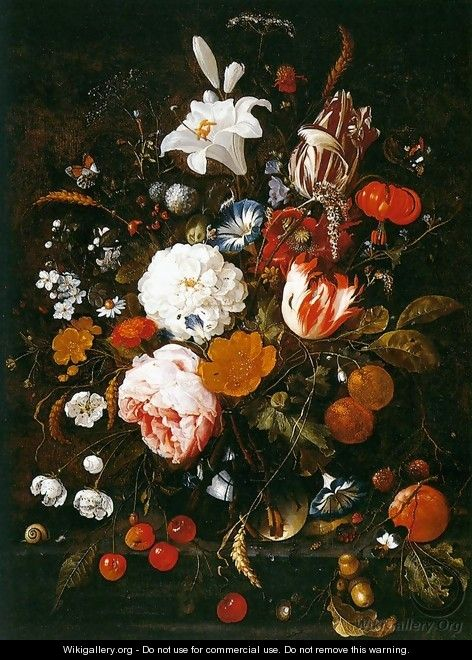 Still-Life with Flowers in a Glass Vase and Fruit - Jan Davidsz. De Heem