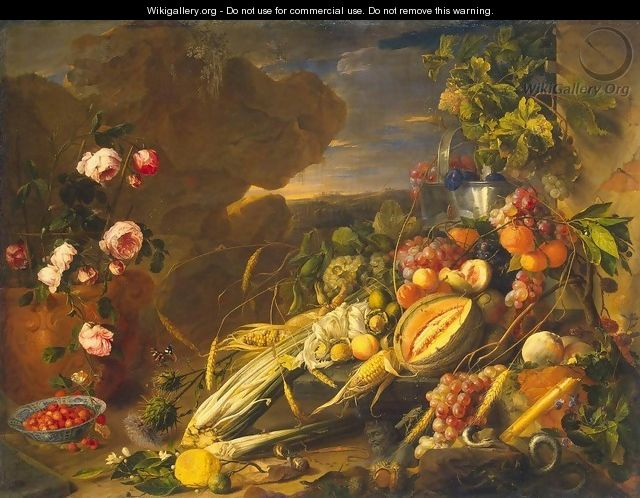 Fruit and a Vase of Flowers - Jan Davidsz. De Heem