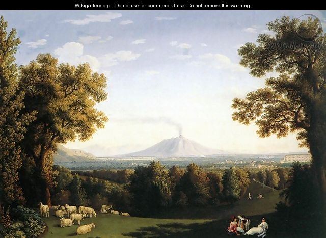Landscape with the Palace of Caserta and Vesuvius - Jacob Philipp Hackert