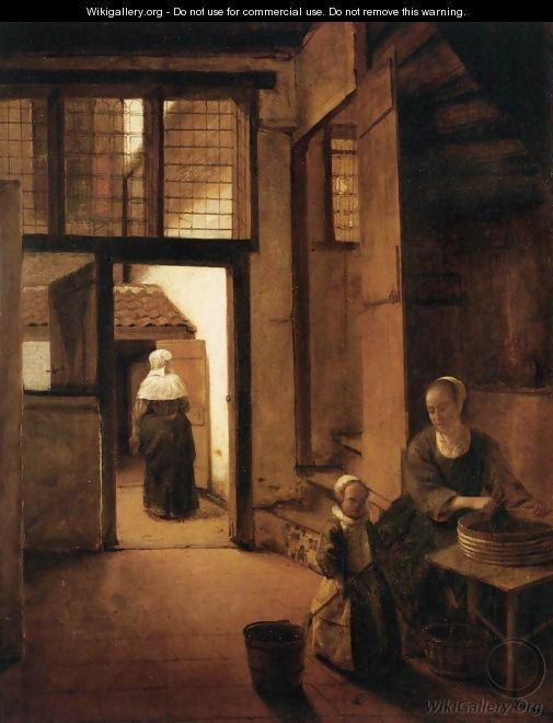 Woman Peeling Vegetables in the Back Room of a Dutch House ...