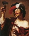The Happy Violinist with a Glass of Wine - Gerrit Van Honthorst