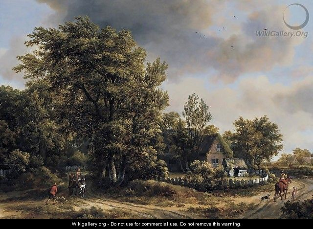 Wooded Landscape with Travellers - Meindert Hobbema