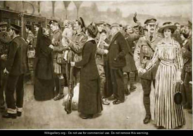 The moment of farewell A touching scene at Victoria Station during war time - Frank Dadd