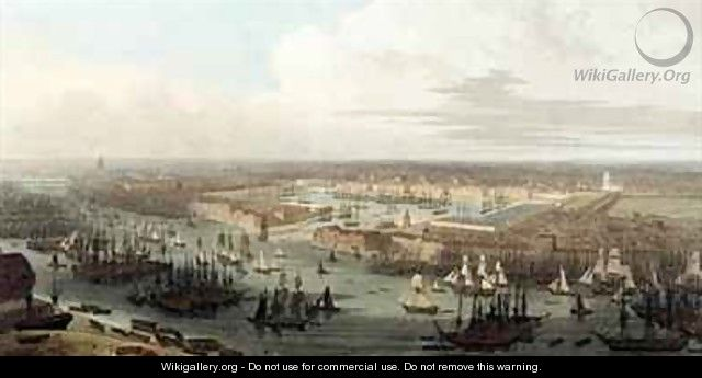 Wapping Elevated View of the Dock - Thomas & William Daniell