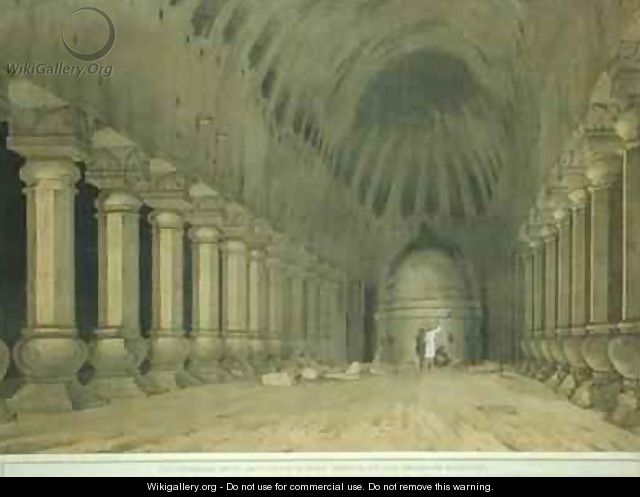 Interior of an Excavated Hindu Temple on the Island of Salsette - Thomas & William Daniell