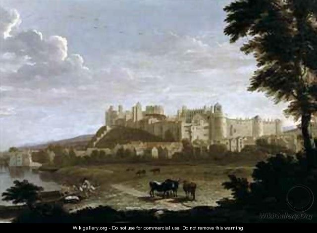 View of Windsor Castle with Cattle and Bathers - Hendrick Danckerts