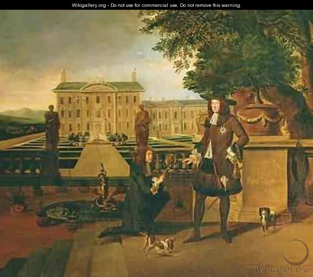 John Rose the Kings Gardener presenting Charles II 1630-85 with a pineapple - Hendrick Danckerts