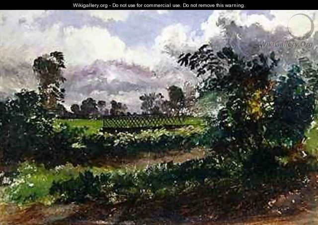 A View across the Artists Garden from his House at Exmouth Devonshire - Francis Danby