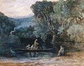 River scene with boat and figures - Francis Danby
