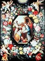 Adoration of the Magi framed in a garland of flowers - Andries Daniels or Danielsz