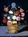 Still Life of Flowers in a Wooden Tub - Andries Daniels or Danielsz