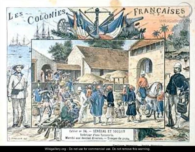 French School Book Cover : School book cover depicting scenes in the french colonies