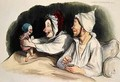 Ecstatic parents with their new baby - Honoré Daumier