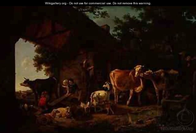 Animals Coming out of the Barn - Jean Louis (Marnette) De Marne
