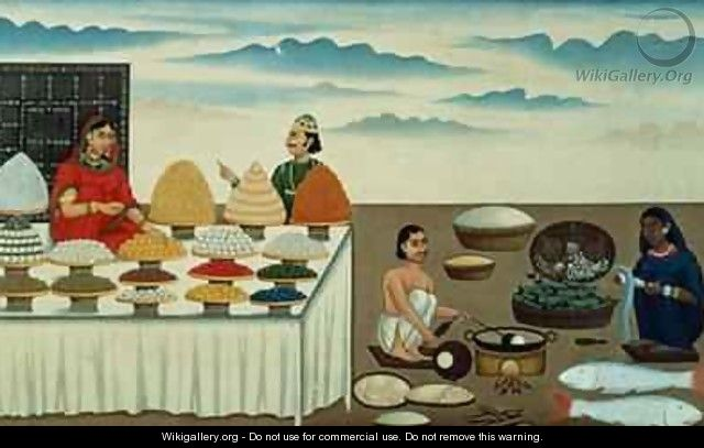Fish seller sweetmeat maker and sellers with their wares Patna - Shiva Dayal Lal