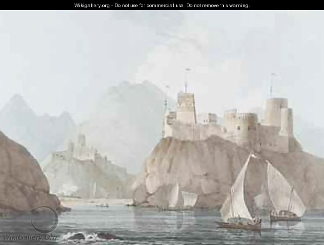East View of the Forts Jellali and Merani Muskah Arabia - Thomas & William Daniell
