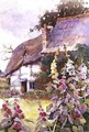 Hollyhocks Outside a Thatched Cottage - Ethel Davies