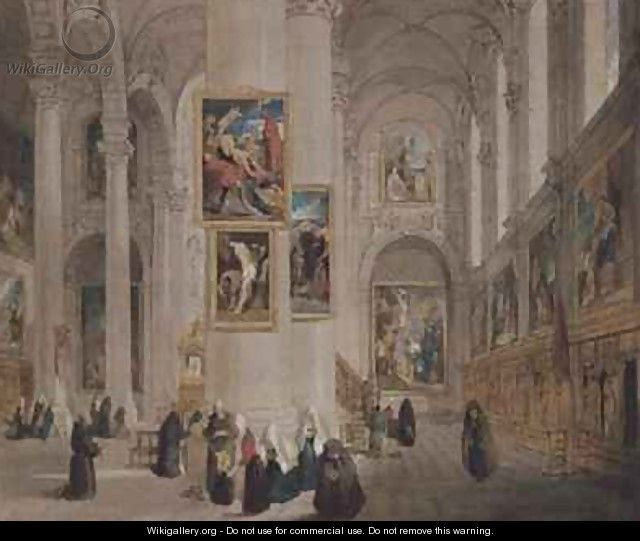 Interior of a church at St Rombaut Malines - John Scarlett Davis