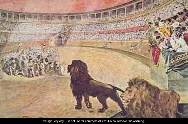 Postcard depicting christian martyrs in the arena in Rome - A. del Senno