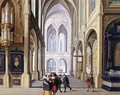 Elegant Figures in a Gothic Church - Dirck van Deelen