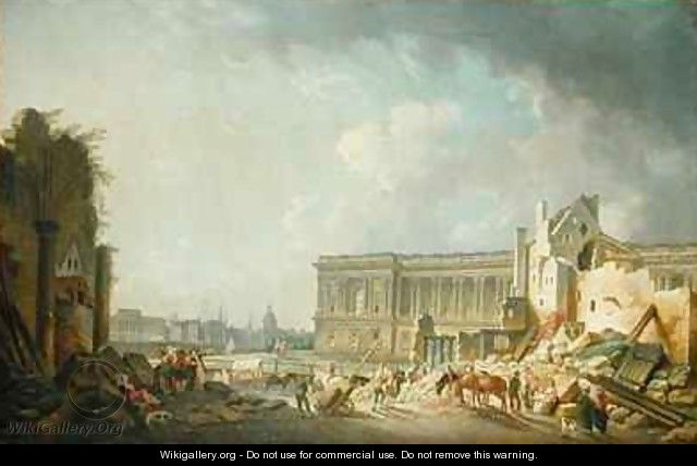 Clearing the Colonnade of the Louvre - Pierre-Antoine Demachy