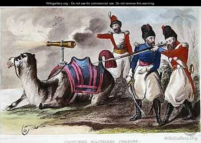 Nineteenth Century Persian Military Costumes and a Camel bearing a cannon - Rene Demoraine