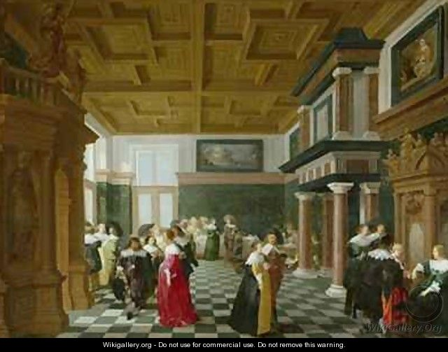 Elegant Figures dancing in an Interior - Dirck Van Delen