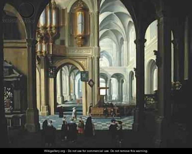 Interior of a Church with a Sermon and Christening Party in Progress - Dirck Van Delen