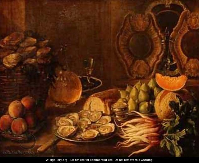 A Still Life with Oysters and Fruit - Nicholas Desportes