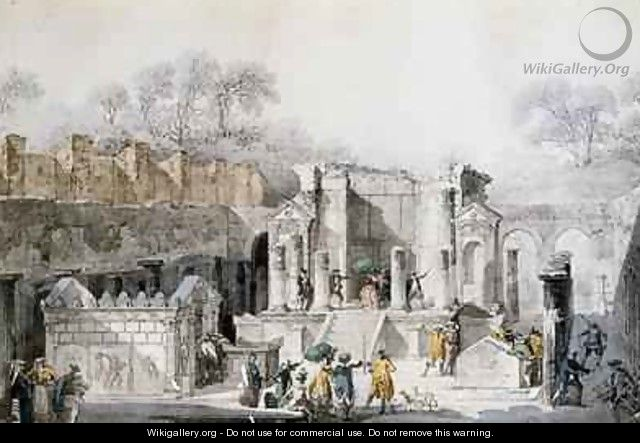 Tourists at the Temple of Isis in the Ruins of Pompeii - Louis Jean Desprez